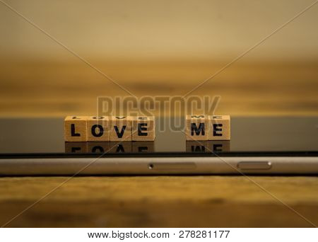 Conceptual Image Of Mobile Love Me Text Messaging For Valentines Day And Online Dating Technology