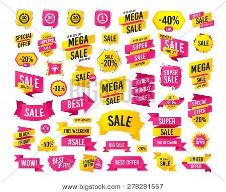 Sale Banner. Super Mega Discounts. Every 10, 25, 30 Minutes And 1 Hour Icons. Full Rotation Arrow Sy