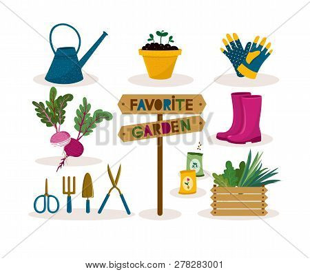 Garden Tool Set.vector Illustration Of Gardening Elements: Spade,pitch,plants, Watering Can, Seedlin