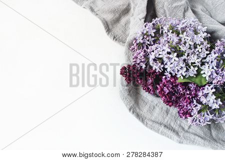 Easter Styled Stock Photo. Spring Feminine Scene, Floral Composition. Decorative Banner, Corner Made