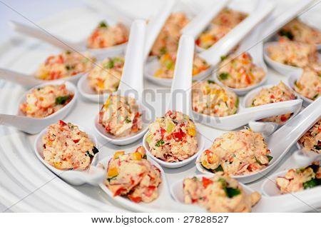 Crab Salad hors odorves in single serving spoons