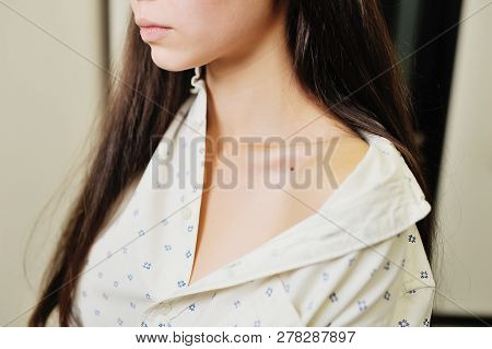 Doctor Examining Birthmarks And Moles Patient. Examination Of Birthmarks And Moles.the Doctor Examin