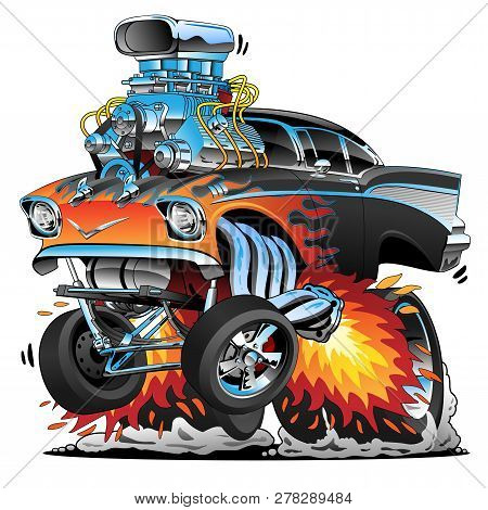 Classic Hot Rod Fifties Style Gasser Drag Racing Muscle Car, Red Hot Flames, Big Engine, Lots Of Chr