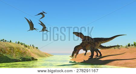 Acrocanthosaurus Dinosaurs 3d Illustration - Pteranodon Reptiles Fly Over Two Acrocanthosaurus Dinos