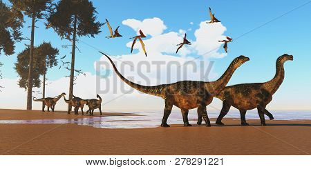Antarctosaurus Dinosaur Seashore 3d Illustration - A Flock Of Thalassodromeus Reptiles Fly Over A He