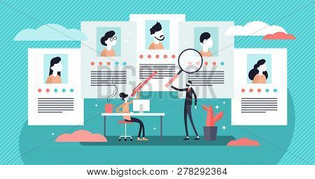 Job Agency Vector Illustration. Flat Tiny Employee Headhunters Persons Concept. Professional Work Se