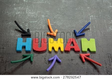 Human Jobs Replaced By Robots Awareness Concept, Multiple Arrow Pointing To Colorful Alphabets Human