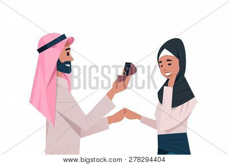 Arab Man Holding Engagement Ring Proposing Arabic Woman Marry Him Couple In Love Wedding Marriage Of