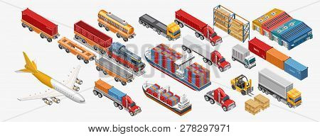 Isometric Warehouse And Logistics Set With Assorted Types Of Freight Transport And Warehouses Of Del