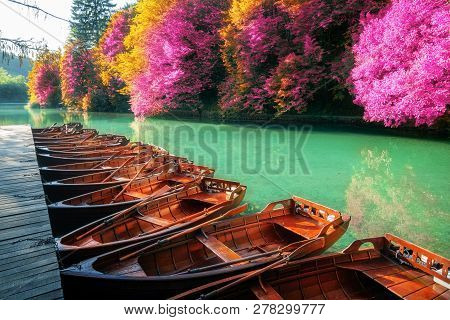 Boats Parking At Pier With Turquoise Lake Landscape Of Plitvice Lakes National Park, Unesco Heritage