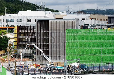 Gosford, New South Wales, Australia - December 18, 2018: Pumping Concrete With Safety Netting  Parti