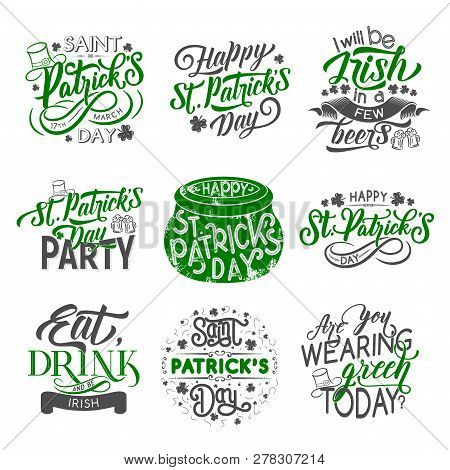 St Patrick Day Badge Set For Irish Holiday Design. Green Clover And Shamrock Leaf With Beer Cup Or M