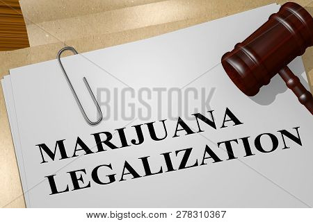 3d Illustration Of Marijuana Legalization Title On Legal Document