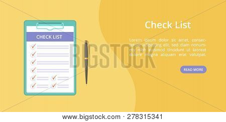 Check List On Clipboard With Pen Landing Page Concept. Website Page Vector Template, Checklist On Bo