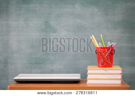 School Books On Desk,  School Supplies. Books And Blackboard  Background, Online Education, Educatio