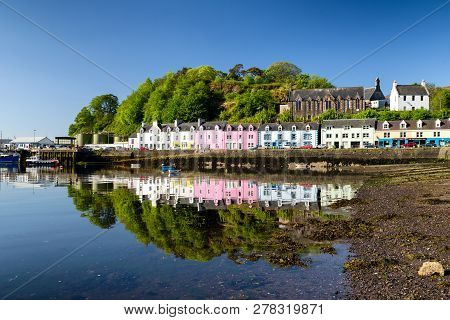Portree, Scotland - May 24: Small Harbour With Boats In Town Portree At Isle Skye On May 24, 2018 In