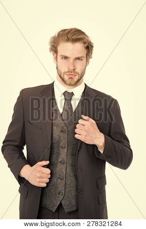 Businessman Or Ceo In Black Jacket. Business And Success. Manager With Beard On Serious Face. Fashio
