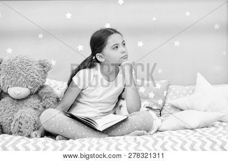 Dreamer Concept. Cute Little Dreamer. Dreamer Girl Dream In Bed. Child Dreamer With Book And Teddy B