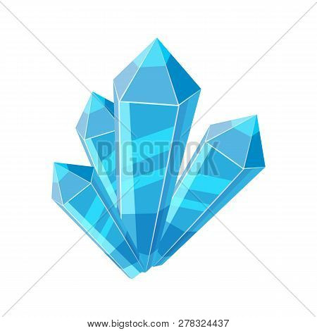 Crystal Stone Or Precious Stone. Blue Colors. Precious Stone Magic, Fantasy Crystals And Semipreciou