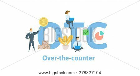 Otc, Over The Counter. Concept With Keywords, Letters And Icons. Flat Vector Illustration. Isolated