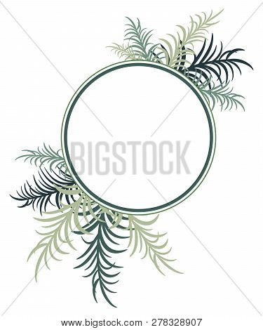 Round Frame Decorated With Palm Leaves. Vector Image. Eps 10
