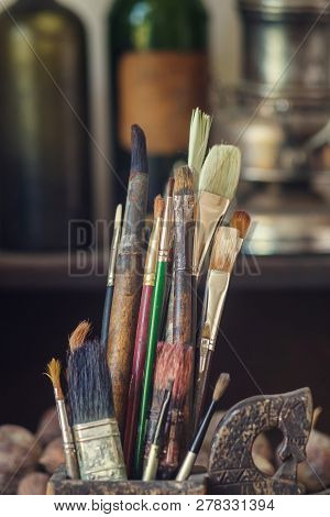 Old Paint Brushes In The Artist