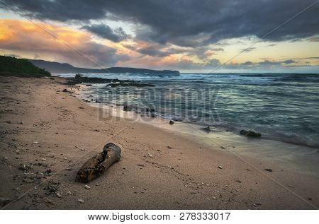 Ocean In Sunrise Nature Landscape. Clouds And Ocean Landscape. Ocean Nature In Sunrise. Nature Lands