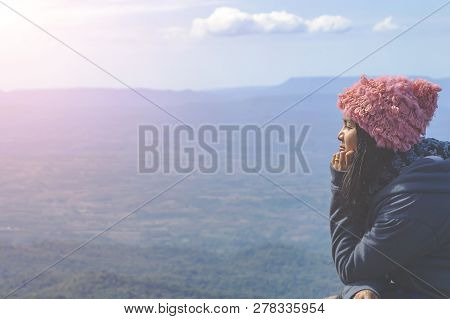 Silhouette Woman Sitting On Mountain In Morning - Image