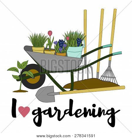 Vector Hand Drawn Gardening Banners With Tools, Plants, Flowers, Cart, Shovel, Rake And Lettering Ph