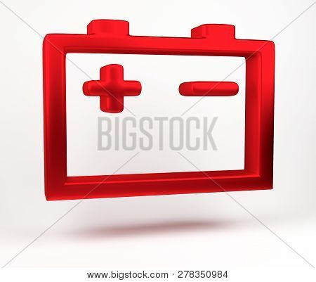 3d Rendering. Car Battery Alert Icon Isolated On White Background. Icon Of Auto Spare Parts Lamp On
