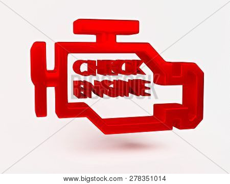 3d Rendering. Red Malfunction Or Check Engine Car Light Symbol, Dash Board. Icon Of Auto Spare Parts