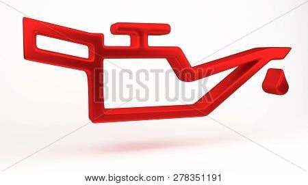 3d Rendering. Red Oil Pressure Warning Light Symbol, Dash Board. Icon Of Auto Spare Parts Lamp On Wh