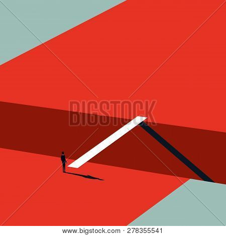 Business Challenge Vector Concept In Minimalist Art Style. Businessman Walking Over Bridge. Symbol O