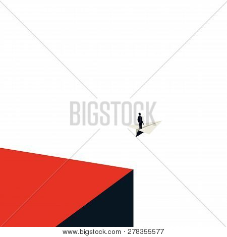 Business Leadership Vector Concept With In Minimalist Art Style. Businessman Flying On A Paper Plane