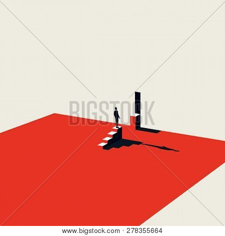 Business Challenge And Overcoming Vector Concept In Minimalist Art Style. Symbol Of Motivation, Ambi