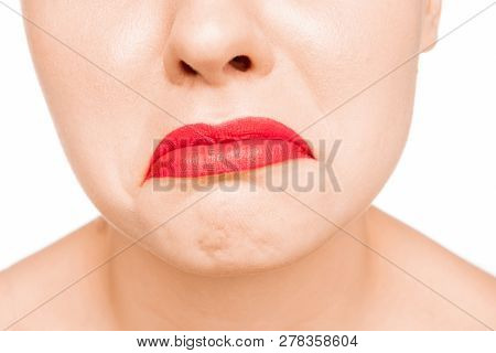 Sexy Dull Red Lip. Close-up Beautiful Lips. Make-up. Beauty Model Womans Face Close-up