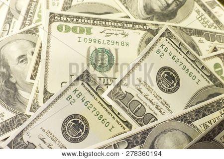 One Hundred Dollar Banknotes. Us Dollar Banknotes. One Hundred Dollars.