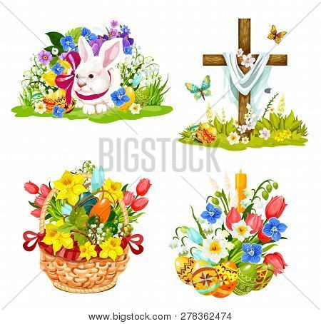 Easter Symbols For Christianity Holiday Greeting Cards. Vector Cartoon Icons Of Paschal Eggs, Christ