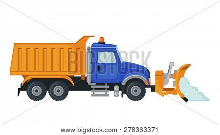 Snow Plow Truck In Flat Style Isolated On White.