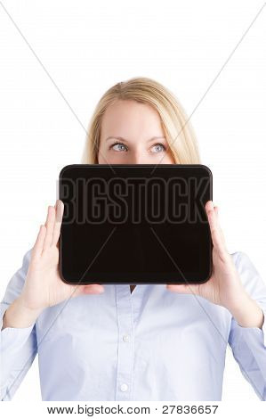 Up Looking Woman Hiding Behind Touch Pad Tablet