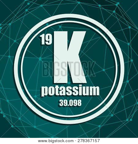 Potassium Chemical Element. Sign With Atomic Number And Atomic Weight. Chemical Element Of Periodic