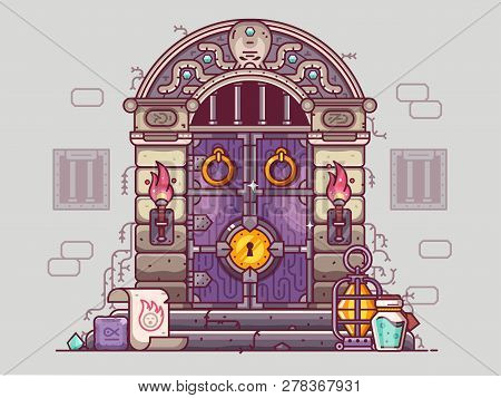Rpg Dungeon Door With Burning Torches And Golden Door Knob. Fantasy Gaming Concept With Medieval Clo