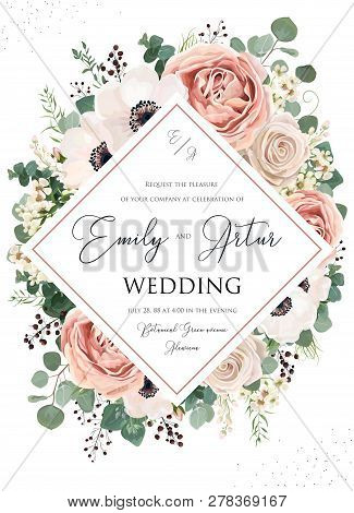 Wedding Invite, Invitation, Save The Date Card Floral Design. Pink Rose Flower, Blush Dusty Anemone