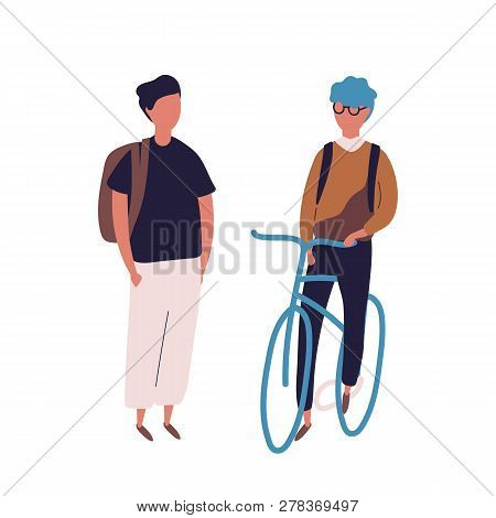 Teenage Boy Dressed In School Uniform Meeting His Friend On Bicycle Or Bike. Pair Of Students, Pupil