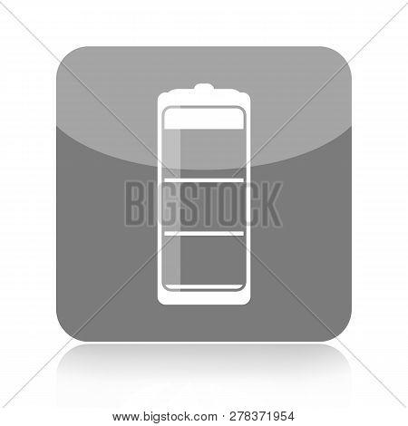Battery Grey Icon Isolated On White Background
