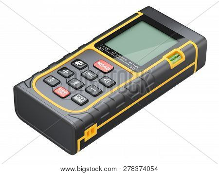 Laser Distance Meter Isolated On White Background - 3d Illustration