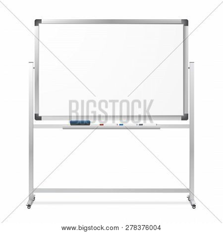 Blank Mobile Dry Erase Magnetic Whiteboard Isolated On White Background. Realistic Portable Board Wi