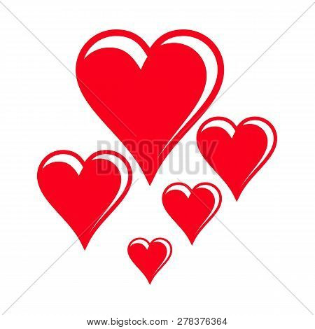 Heart On Valentines Day In Love Vector Lovely Red Sign On Hearted Celebration And Greeting Card With