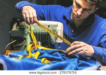 Sewing Denim Jeans With Sewing Machine. Repair Jeans By Sewing Machine. Alteration Jeans, Hemming A