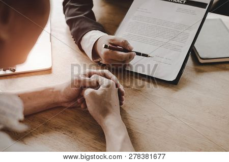 Legal Consultants, Notary Or Justice Lawyer Discussing Contract Document On Desk With Client Custome